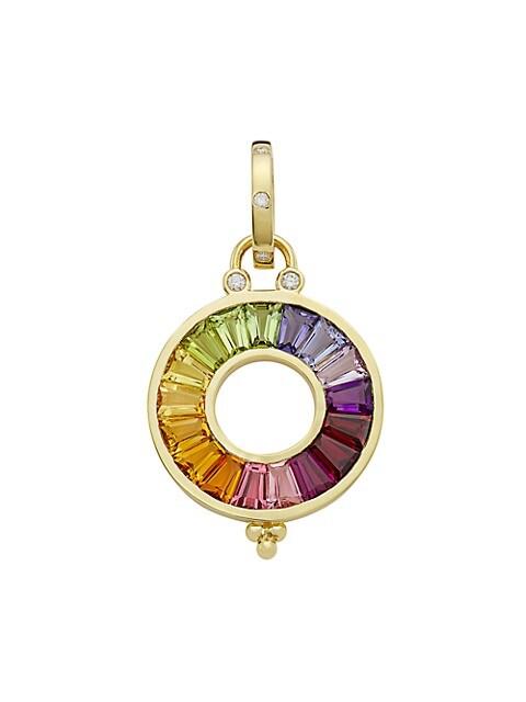 Celestial 18K Yellow Gold, Diamond & Multi-Stone Small Color Wheel Pendant