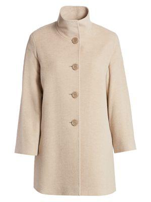 Cinzia Rocca, Plus Size Women's Stand-collar Wool & Alpaca A-line Coat In Sand
