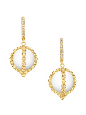 Temple St Clair Celestial 18k Yellow Gold Diamond Crystal Sassini Amulet Earrings