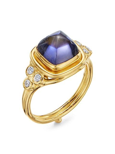 High 18K Yellow Gold, Iolite & Diamond Classic Sugar Loaf Ring