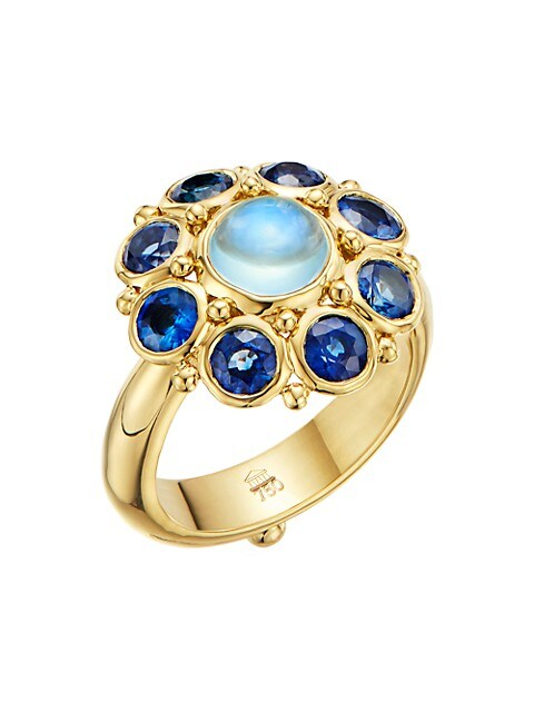 Stella 18K Yellow Gold, Blue Sapphire & Blue Moonstone Ring