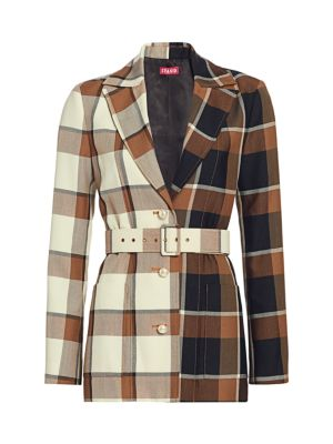 Staud Pepper Mixed Plaid Belted Blazer