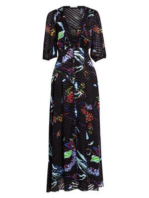 Tanya Taylor Dresses Ariela Burnout Striped Floral Stretch-Silk Maxi Dress