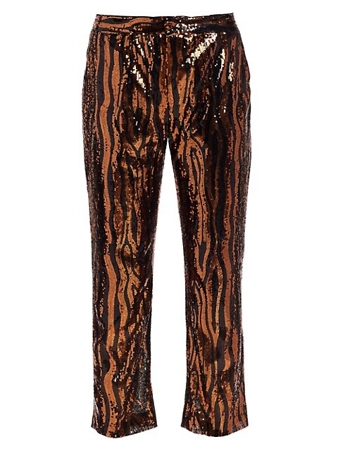 Sequin Cropped Chino Trousers