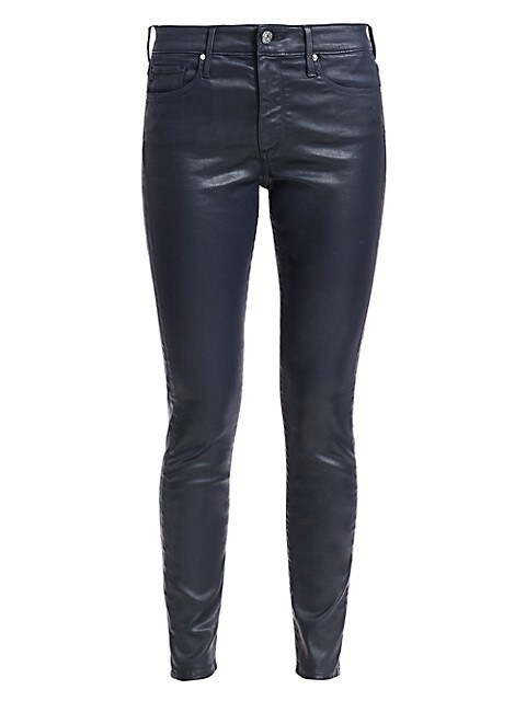 Farrah Leatherette Mid-Rise Ankle Skinny Jeans