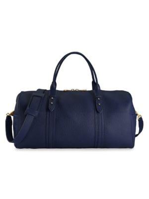 Gigi New York Women's Henley Leather Duffel Bag In Navy