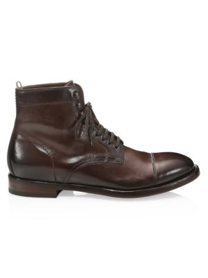 Officine Generale Emory Leather Lace-up Ankle Boots In Dark Brown