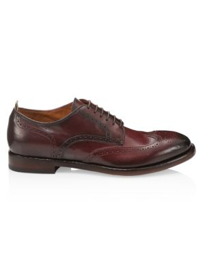Officine Generale Emory Wingtip Leather Derby Loafers In Canyon Bordo