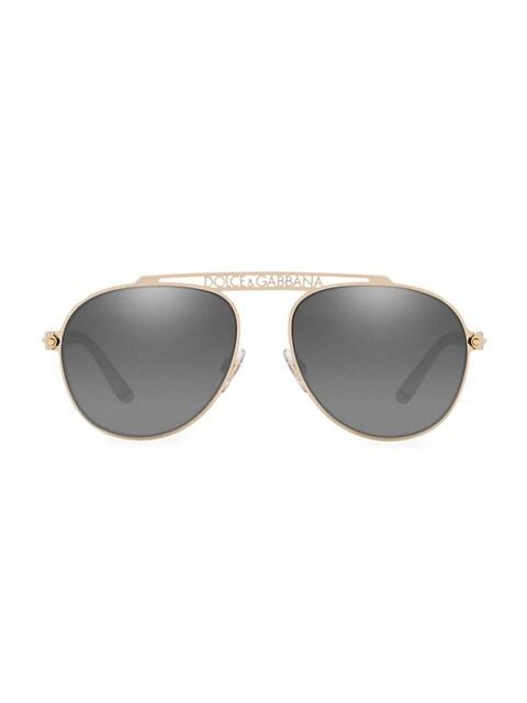 57MM Logo Aviator Sunglasses