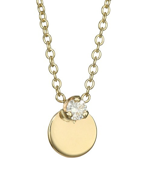 14K Yellow Gold & Diamond Midi Bitty Disc Necklace