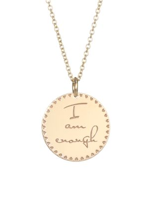 Zoe Chicco Mantra 14k Yellow Gold Engraved Circle Pendant Necklace