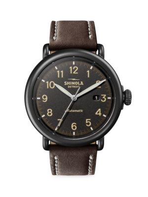 Shinola Watches Thr Runwell Automatic Stainless Steel & Leather Strap Watch