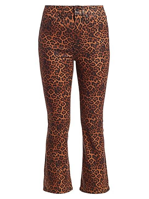 Leopard-Print High-Rise Slim-Fit Kick Flare Jeans