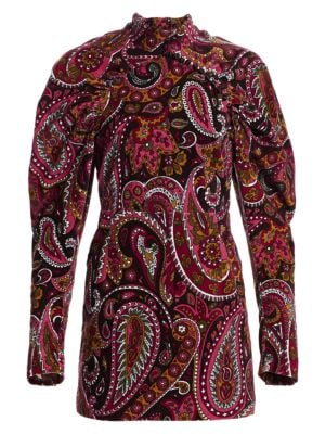Rotate High Neck Paisley Velvet Mini Dress