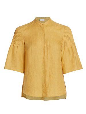 Akris Punto Tops Pintuck Bell-Sleeve Linen Blouse