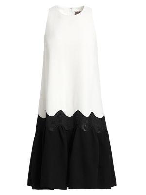 Lela Rose Wool Crepe Wave Flounce Hem Dress