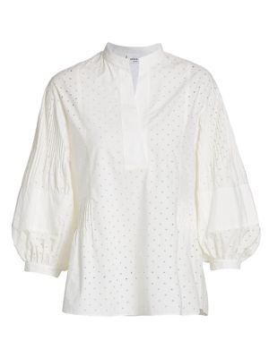 Akris Punto Tops Perforated Poplin Balloon-Sleeve Blouse