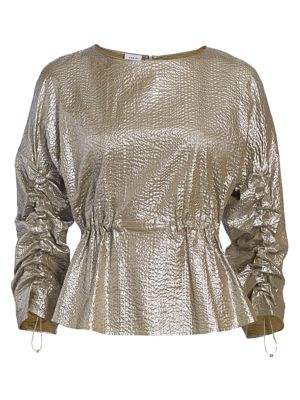 Akris Punto Tops Metallic Seersucker Drawstring Blouse
