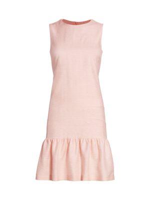 Akris Punto Dresses Raw Silk Ottoman Ruffle Hem Shift Dress