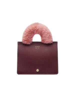 Oad Bags Mini Prism Faux Fur-Trim Leather Satchel
