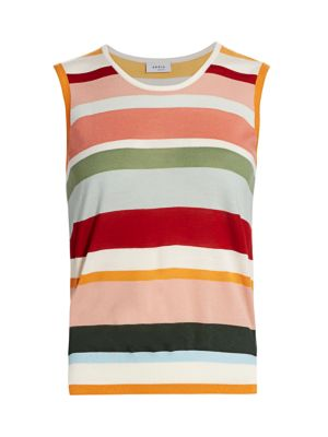 Akris Punto Knits Multicolor Stripe Wool Sleeveless Knit Top