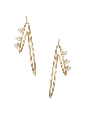 Zoe Chicco 14k Yellow Gold Diamond Medium Double Wire Hoop Earrings