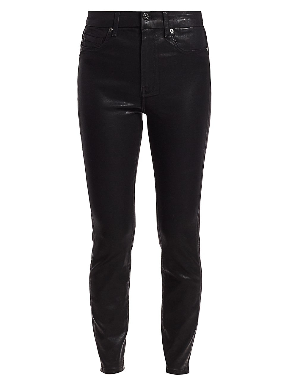 7 For All Mankind High-rise Ankle Skinny Coated Jeans In Black Coated