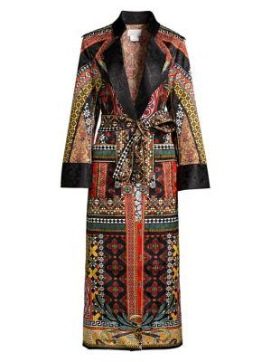 Camilla Mother Multi Print Silk Jacquard Military Coat