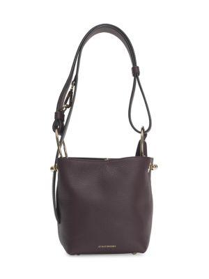 Strathberry Nano Lana Leather Hobo Bag In Burgundy