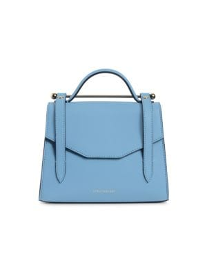 Strathberry Mini Allegro Leather Satchel In Alice Blue