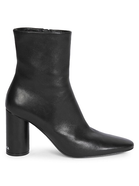 Oval Block-Heel Leather Ankle Boots