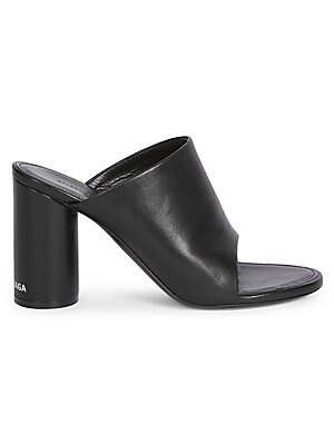 96a6c6cb754 Balenciaga - Oval Open-Toe Block-Heel Leather Mules - saks.com