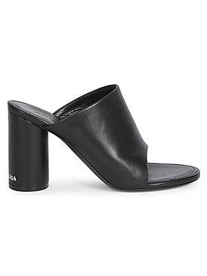 Oval Open Toe Block Heel Leather Mules by Balenciaga