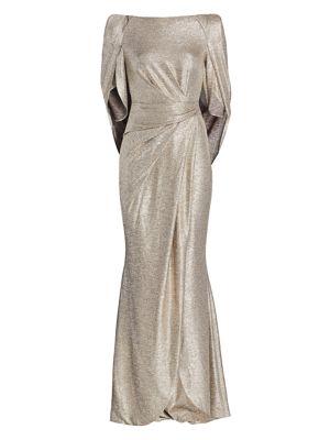 Talbot Runhof Metallic Jersey Donut Sleeve Gown
