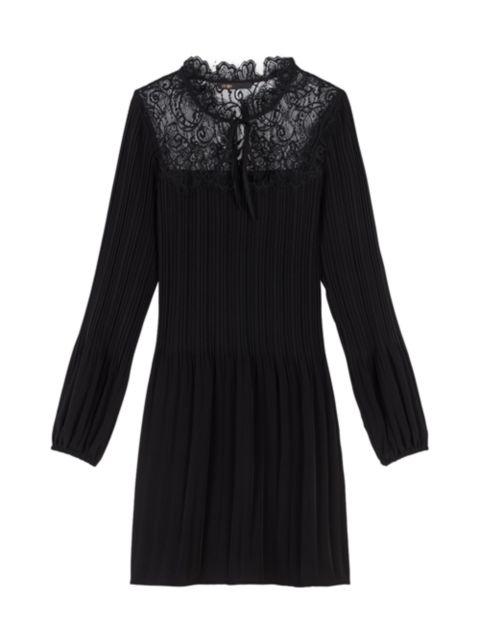 Maje Rockette Lace-Yoke Pleated Dress   SaksFifthAvenue
