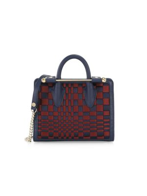 Strathberry Women's Nano Woven Leather Tote In Burgundy