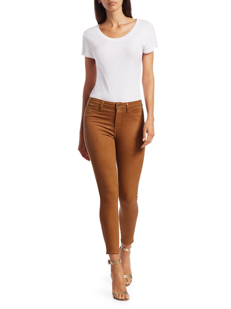 L'Agence Margot High-Rise Ankle Skinny Coated Jeans | SaksFifthAvenue