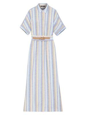 Lafayette 148 Dresses Skyscraper Stripe Belted Linen Maxi Shirtdress