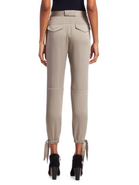 Halston Slim Fit Ankle Tie Satin Pants | SaksFifthAvenue