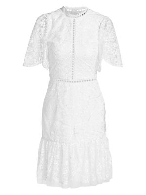 Ml Monique Lhuillier Short Bell Sleeve Floral Embroidery Dress
