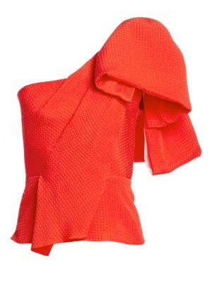 Roland Mouret Toulon One Shoulder Silk Blouse
