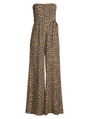 Likely Suits Emile Leopard Strapless Flare Jumpsuit