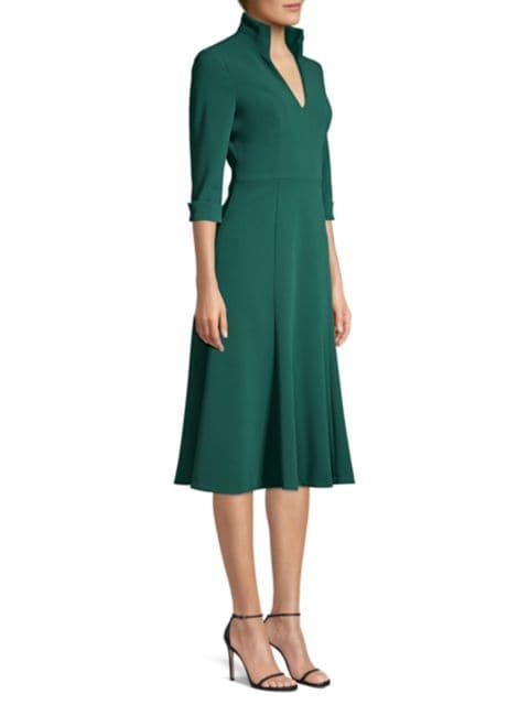 Black Halo Kensington Stand-Collar Fit & Flare Dress   SaksFifthAvenue