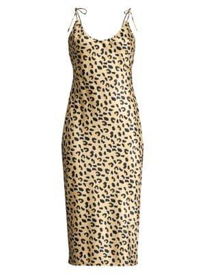 Mestiza New York Aurora Christina Leopard Print Satin Slip Dress