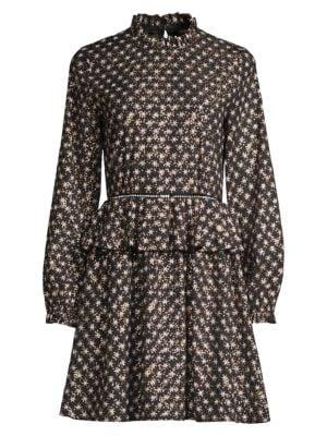 Stine Goya Christine Printed Satin Peplum Dress In Black
