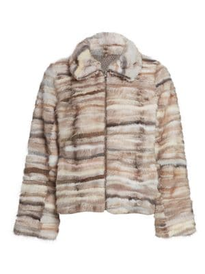 The Fur Salon Reversible Mink Fur Sections Jacket
