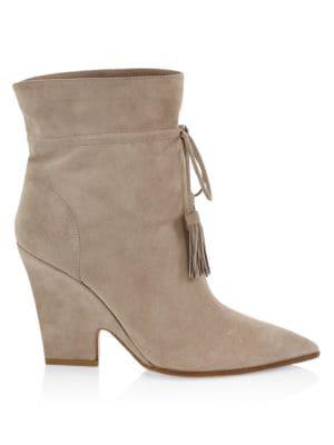 Aquazzura Women's Sartorial Tassel-trimmed Suede Ankle Boots In Grey