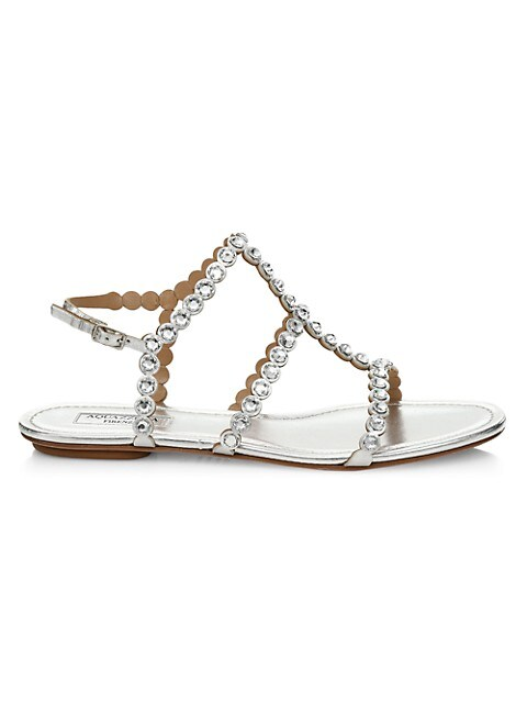 Tequila Crystal-Embellished Metallic Leather Flat Sandals
