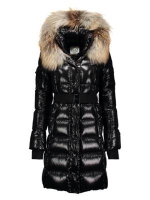 Regular fit water repellent down coat in glossy fabric