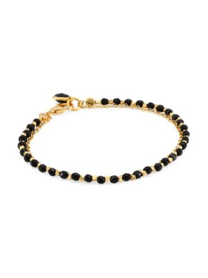 Astley Clarke 14K Yellow Goldplated & Black Onyx Biography Charm Bracelet